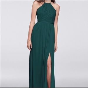 Halter neck lace floor length Dress
